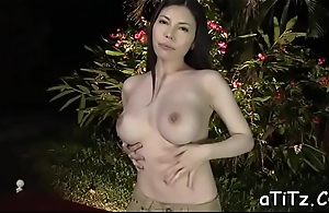 Enchanting japanese with pretty knockers delights with blowjob