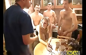 Russian drunk party ends far big orgy