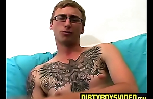 Amateur tattooed twink fingers his ass with an increment of masturbates solo