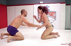 Savannah Fox mixed nude wrestling winner fucks the guy