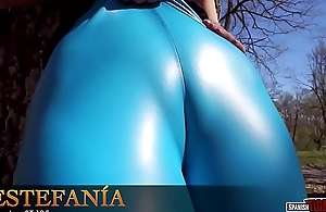 Spanish hot chick in tight rubber pants