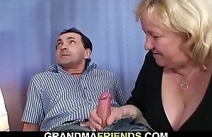 Uncompromisingly venerable gaffer blonde grandma swallows one cocks