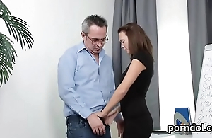 Kissable schoolgirl gets teased and drilled by aged consultant