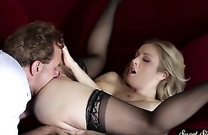 Stockinged stepdaughter fucked until spunk fountain