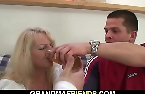 Boozed blonde grandma takes several big cocks from both ends