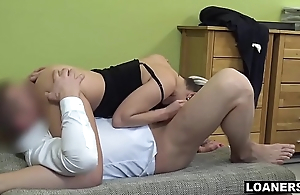Young Prex Slut Uses The brush Tits &amp_ Pussy To Get Loan Approval