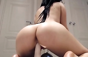 Big tit slut rides sex toy