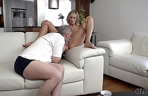 OLD4K. Old abb' fingers wife'_s twat to prepare it for upcoming sex
