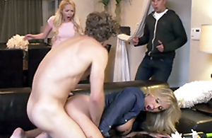 Curly-haired panhandler fucks friend's mom Julia Ann until they are caught