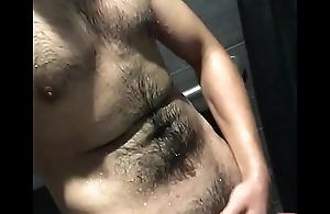 Masturbating in the gym shower
