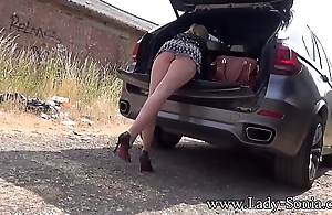 Big boob blonde Lady Sonia flashing in public