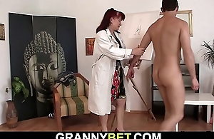 Hot redhead superannuated woman sucks and rides his meat